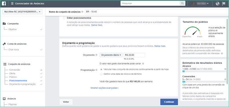 Orçamento de anúncio no Facebook Ads