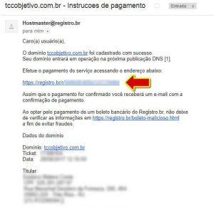 E-mail enviado pelo Registro.Br