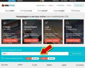 Primeiro passo de registro de domínio na UOL Host
