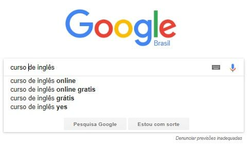 Autocompletar na busca do Google