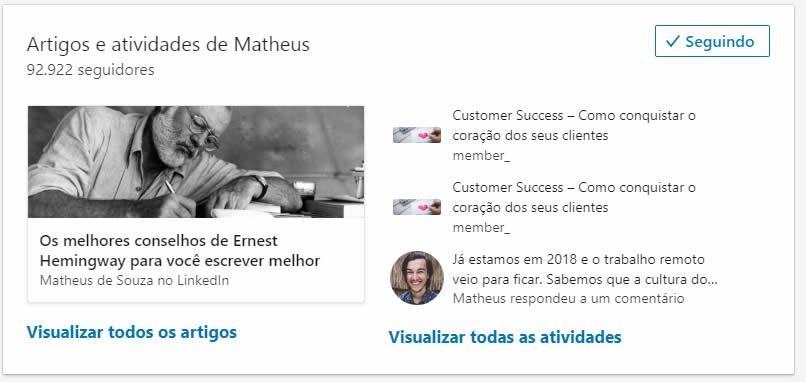 Marketing no Linkedin com Matheus de Souza