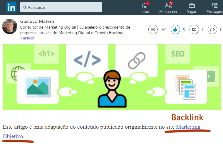 Backlink no LinkedIn