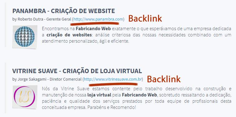 Backlinks em depoimentos
