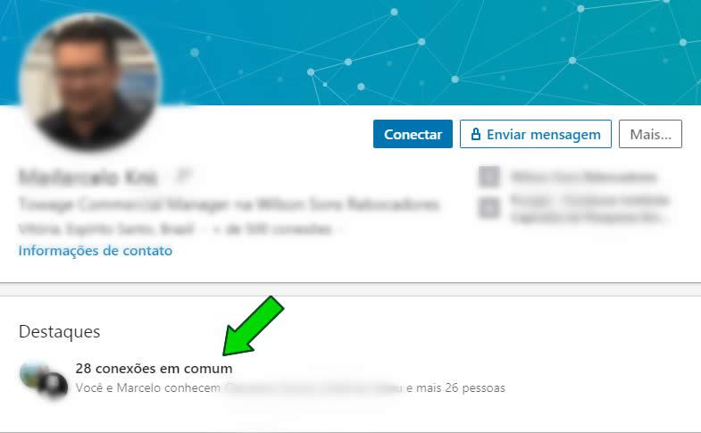 Conexões em comum no Linkedin